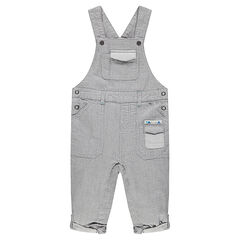 Long striped overalls with pockets