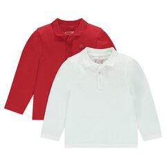 Set of 2 polos long sleeves plain print logo