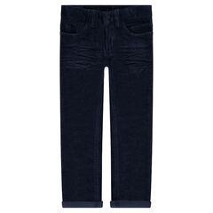 Crinkled-effect velvet pants