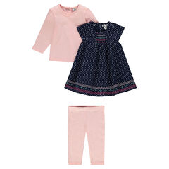 3-piece ensemble with tee-shirt, dress and leggings
