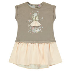 Short-sleeved dress in fleece and lurex with frilled bottom