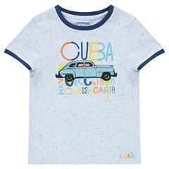 Short-sleeved neps jersey tee-shirt with printed car