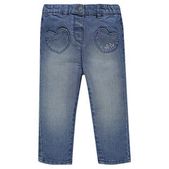 Jeans with an elastic waistband and pockets