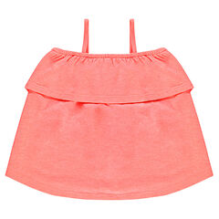 Bare-shouldered tank top with frill
