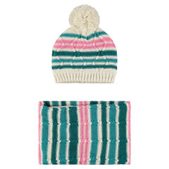 Striped knit cap and snood ensemble
