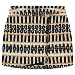 Junior - Short jacquard skirt with fringes