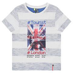 Short-sleeved jersey tee-shirt with heathered bands and printed view of London