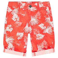 Junior - Trendy cotton bermuda shorts with plants printed all over