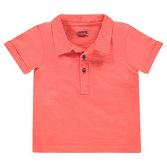 Short-sleeved plain-colored polo shirt