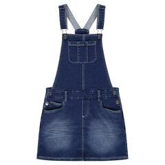 Junior - Denim-effect fleece overall dress