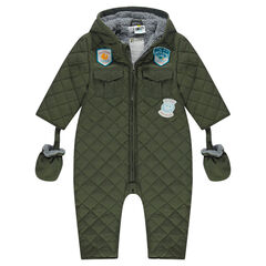 Padded snowsuit with hood and sherpa lining