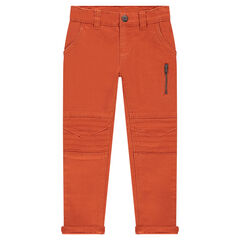Slim fit pants in plain-colored twill