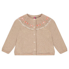 Sparkly knit cardigan with inca embroidery