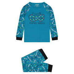 Jersey pajamas with mask print