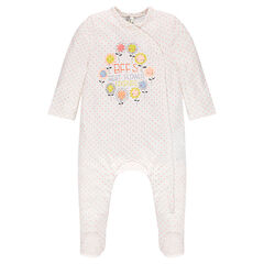Jersey footed sleeper with polka dots and printed flowers