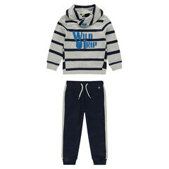 Fleece sweatsuit with striped sweatshirt with trendy collar