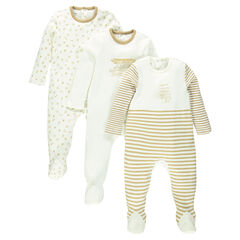 Set of 3 footed sleepers in jersey: plain-colored/printed/striped