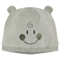 ©Smiley knit cap with sewn ears
