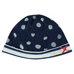 Fleece cap with polka dot print
