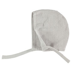 Knit beanie with tie strings