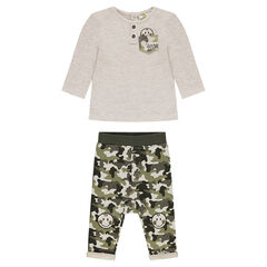 ©Smiley ensemble with long-sleeved tee-shirt and army pants