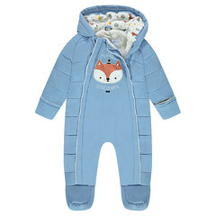 Microfiber snowsuit with sherpa lining and fox patch
