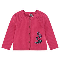 Ribbed cardigan with embroidered flowers