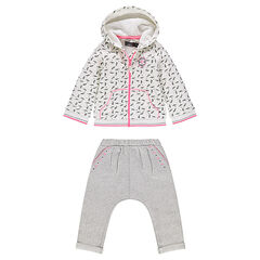 Fleece sweatsuit ensemble with printed feathers