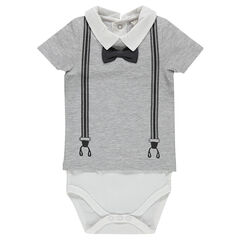 2-in-1 effect, short-sleeved bodysuit with bow tie