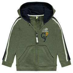 Zipped fleece hooded jacket