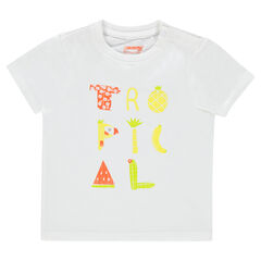Short-sleeved, plain-colored t-shirt with decorative print.