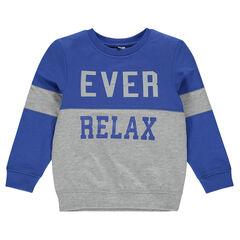 Fleece sweatshirt with printed writing