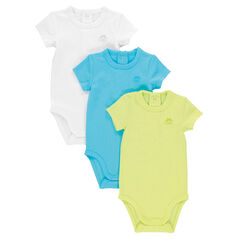 Set of 3 short-sleeved, plain-colored bodysuits