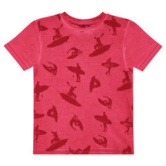 Junior - Short-sleeved overdyed tee-shirt with an allover print