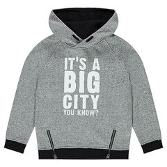 Hooded fleece sweatshirt with printed message