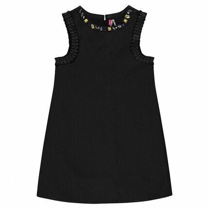 Junior - Short-sleeved dress with crystal-effect beaded neckline