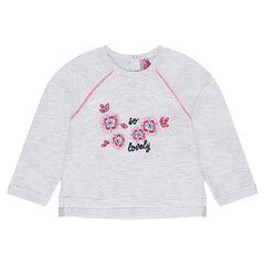 Fleece sweatshirt with embroidered flowers