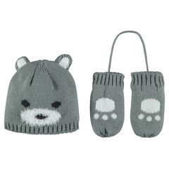 Cap and mittens ensemble with jacquard motif