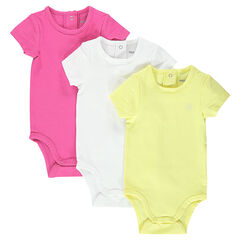 Set of 3 short-sleeved, plain-colored bodysuits