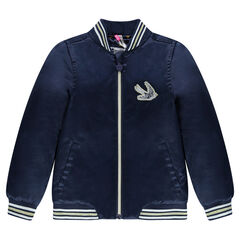 Satiny bomber jacket with bird badge and embroidery in back