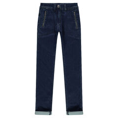 Junior - Used-effect fleece jeans with zipped pockets