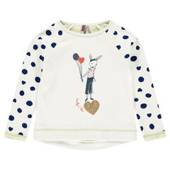 Fleece sweatshirt with print and sequins