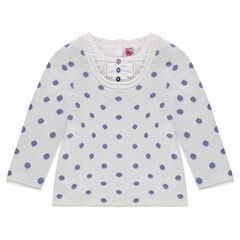Long-sleeved, 2-in-1 effect, polka-dotted sweater
