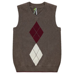 Sleeveless knit sweater with jacquard motif