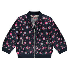 Satiny bomber jacket with printed flowers and sherpa lining