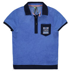 Short-sleeved 2-in-1 effect polo shirt with pocket and printed messages
