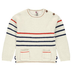 Striped sweater with pockets and lacing