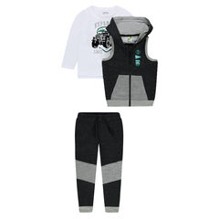 3-piece fleece sweatsuit with SUV print