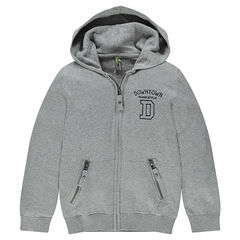 Junior - Hooded fleece jacket with embroidered messages