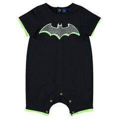 Short jersey playsuit with printed BATMAN logo